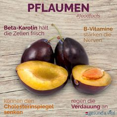Plums: That makes them healthy- Pflaumen: Das macht sie gesund Autumn is plum season. At the weekly markets and in the supermarket, the blue, juicy stone fruits bustle. They are delicious, no question. But also healthy! Diet And Nutrition, Healthy Diet Tips, Healthy Eating, Superfood, Plum Season, Diet Recipes, Healthy Recipes, Salud Natural, Prune