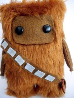 Chewbacca anything is usually really cute. Handmade chewy with no expression, big eyes, and derpy little body is just cute explosion.    Star Wars Chewbacca Fur Ooak 15cm by peludossa on Etsy, $25.00
