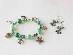 Cherry Tree Beads Ideas - Cracked Agate Beach Bracelet and Earrings