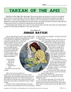 Free, printable reading comprehension set about Edgar Rice Burroughs' Tarzan of the Apes. Great activity for the later elementary school ages. Click Here!