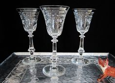 Vintage Cut Crystal Wine Glasses 3 Pc Set Ornate Luxury Barware Cordial Cocktail Glass Tall Etched Sculpted Faceted Knop Stem Fern Garland by SaltwaterVillage on Etsy