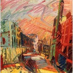 """artwork: """"Mornington Crescent – Summer Morning"""" by Frank Auerbach (b. Frank Auerbach, City Illustration, Royal College Of Art, Urban Landscape, Contemporary Paintings, Impressionism, Landscape Paintings, Landscapes, New Art"""