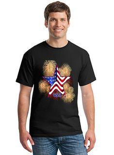 e8a630cc78f USA Flag Star T Shirt Gildan Mens Womens Unisex Fireworks July Classic Tshirt  Casual Look Patriotic America Work Shirt Office Shirt cotton (preshrunk) ...