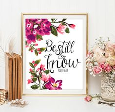 Be still and know print Bible verse Psalm 46 10 nursery decor wall art Scripture…