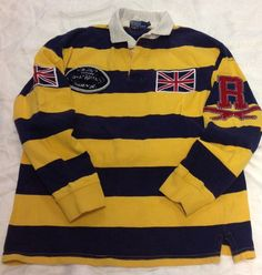 Polo Ralph Lauren Vintage Rugby Shirt size large mens British flag patch