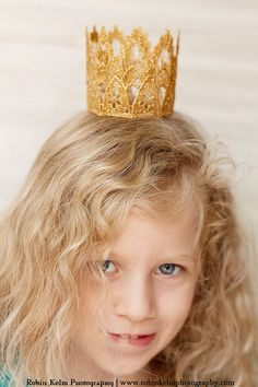 Vintage Inspired Gold Lace Crown/Tiara newborn, baby or child photography prop/birthday accessory/Keepsake. $14.50, via Etsy.