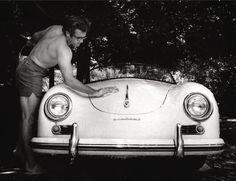 james dean morgue photos   An happy James Dean in a sunny day enjoy washing his first Porsche a ...