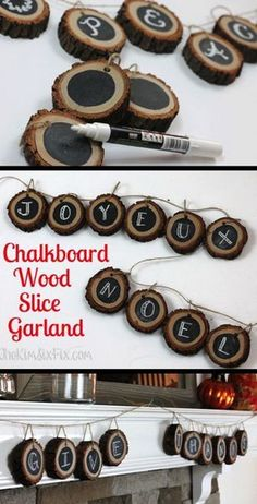 Dekoration Holzscheibe Chalkboard Banner from Wood Slices. Create a completely customizable wood slice banner or garland with slices of tree branch and chalkboard paint, perfect for that rustic and natural look for your fall home decor. Rustic Christmas, Christmas Holidays, Christmas Decorations, Christmas Tree, Tree Decorations, Diy Decoration, Christmas Branches, Beautiful Decoration, Beach Christmas
