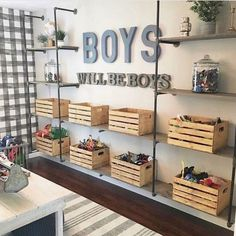 If I had boys, this space from would serve as major room inspo! From the buffalo check wallpaper to the metal & wood… If I had boys, this space from M+B Design would serve as major room inspo! From the buffalo check wallpaper to the metal & wood… Black Pipe Shelving, Playroom Design, Kid Playroom, Playroom Decor, Playroom Organization, Kids Playroom Storage, Boys Room Design, Diy Toy Storage, Boys Bedroom Storage