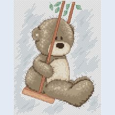 Teddy Bruno - On The Swing - counted cross-stitch kit  - Luca-S