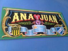 Ana y Juan esmalte sintetico sobre chapadur negro 40 x 20cm
