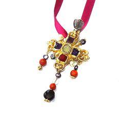 CHRISTIAN LACROIX, superb vintage 80s gold-tone pendant/brooch