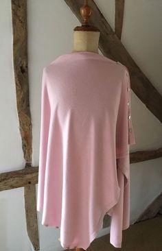 Cashmere Blend Fine Knit Pastel Pink Button Down Multi Way Poncho Pashmina