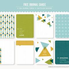 Free Project Life Journal and Filler Cards from Kimberly Church. Green, yellow and blue geometric cards, Project Life Freebies, Project Life Layouts, Project Life Cards, Life Journal, Journal Cards, Planner Journal, Journal Paper, Junk Journal, Printable Cards