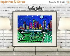 50% Off Today- Houston Texas City Art Print Art Print Poster by Heather Galler Abstract Skyline(HG523)