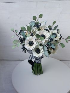 Items similar to Anemone wedding bouquet, Alternative white and sage bridal nosegay, Navy blue and white wedding flowers, Custom artificial wedding bouquet on Etsy Sage Wedding, White Wedding Flowers, Bridal Flowers, Floral Wedding, Wedding Colors, Anemone Bouquet, White Anemone Flower, Artificial Wedding Bouquets, Nosegay
