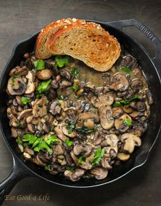 Mushroom ragout recipe - Yield: 4 servings - Total Time: 15 minutes -sub miso or nuts for oil Vegetable Dishes, Vegetable Recipes, Vegetarian Recipes, Healthy Recipes, Vegetable Stock, Mushroom Ragout Recipe, Mushroom Recipes, Mushroom Stew, Butter Mushroom