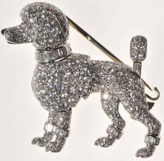 1958 Cartier Poodle diamond brooch of Grace Kelly Rainier, Princess of Monaco. Her poodle, Oliver, accompanied Grace Kelly to Monaco where she married Prince Ranier, and became Princess Grace.