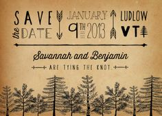 Rustic Save the Date Card Tree Save the Date by starboardpress