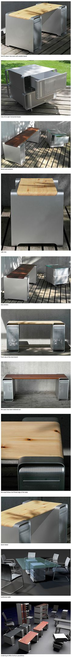 In an effort to extend the useful life of the iconic aluminum-bodied Apple Power Mac G5 (2003-2006), designer Klaus Geiger has created BENCHMA[®]C, a line of furniture made out of Power Mac G5 cases. To convert the computers into furniture, Geiger first removes the internals. He then adds drawers to the cases, and pairs the Power Macs with wood planks and glass to form benches, tables, and other furniture.