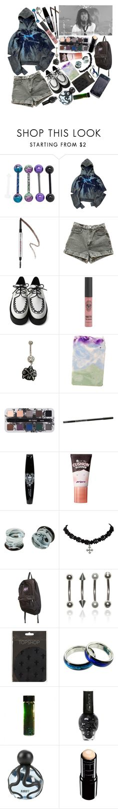 """She's got a method of killing, pulling you in like you're gonna start kissing. Fooling around until you've lost all feeling, sucking your blood until your heart stops beating."" by thelyricsmatter ❤ liked on Polyvore featuring Benefit, American Apparel, Urban Decay, peripera, JanSport and Maybelline"