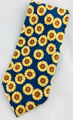 Strapps Mens Silk Necktie Sunflowers Floral Blue Yellow Made in USA   Clothing, Shoes & Accessories, Men's Accessories, Ties   eBay!