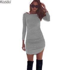 Sexy Mini Dress 2016 European Style Casual Black/Gray Long Sleeve Dress