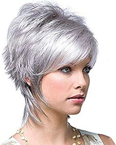 Grey Wigs for Women Short Silver Hair Wigs for White Women Female Ladies Wig Short Silver Hair, Short Brown Hair, Short Hair With Layers, Short Hair Cuts, Short Hair Styles, Silver Wigs, Short Pixie, Afro Hair Pieces, Pixie Cut Kurz