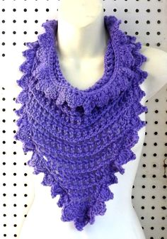 Crochet Triangle Scarf with Drawstrings in Purple