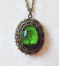 Emerald bewitched  small  wearable art locket