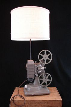 upcycled vintage revere 8mm projector lamp needs a shade swap
