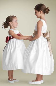 Us Angels White Sleeveless Satin Dress with Sash (Toddler, Little Girls & Big Girls) available at #Nordstrom