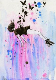 Out of Gravity by Lora Zombie is a magical illustration of what happens when a girl believes she can fly. Falling upward in a sea of pinks and blues, this aerodynamic. Art Inspo, Kunst Inspo, Inspiration Art, Art Anime, Anime Kunst, Art And Illustration, Watercolor Illustration, Kawaii, Bel Art