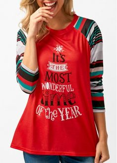54961094 Red Long Sleeve Letter Print T Shirt on sale only US$30.16 now, buy cheap