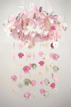 Baby mobile in Pink Grey Ivory Lamb Nursery by SoaringDecor, $64.50
