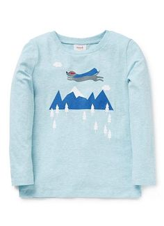 100% Cotton Jersey long sleeve tee featuring flying dog print.