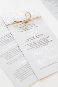 Custom made lace wedding invitations by www.makeadesign.fi / wedding theme rustic / Häät / Pitsiset hääkutsut