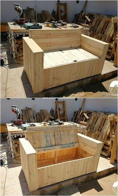 This is an interesting designed bench with storage that is incredible looking. The bench has been durable attached with the wood placement that is all comprised to be placed under it in the wood finishing timeline. Creative designing has been implemented out.
