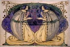 """Frances Macdonald MacNair (1873-1921) - Spring. Pen and Watercolour on Linen on Board. Circa 1900. 32-3/4"""" x 44-7/8""""."""