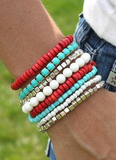 Those cute accessories no longer have to break your bank thanks to daily deals on hot selling items Wire Wrapped Bracelet, Bracelet Set, Bracelet Making, Stretch Bracelets, Beaded Necklace, Beaded Bracelets, Stack Bracelets, Red Turquoise, Aqua