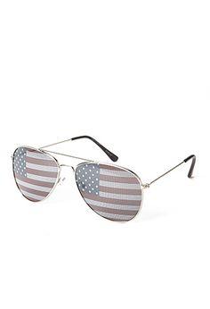 Old Glory Aviator Sunglasses $3.48 | FOREVER21 - 1000061455... lovin these