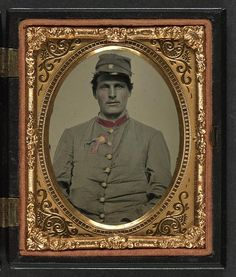 The Civil War. Unidentified soldier in Confederate artillery jacket with secession badge and artillery forage hat. American Civil War, American History, Confederate States Of America, War Image, Civil War Photos, Daguerreotype, Vintage Photography, War Photography, Civilization