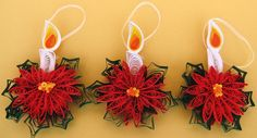 Quilled Christmas Ornaments in the form of Burning Candles