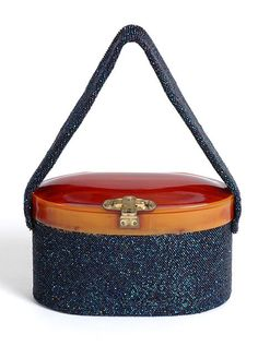 1940's Vintage Bakelite and Iridescent Blue Bead Box Purse with Brass Hardware 40's Deco