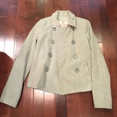 Abercrombie & Fitch classic grey pea coat In great condition! Abercrombie & Fitch Jackets & Coats Pea Coats