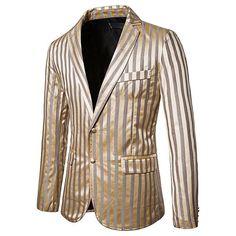 Costum stralucitor cu dungi verticale pentru barbati, cu doi nasturi, costum pentru sezonul de toamna Costume, Blazer, Men, Fashion, Moda, La Mode, Costumes, Fasion, Sports Jacket