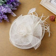 Venusvi Girl Wedding Party Sinamay Net Clip Headband Fascinator (Ivory) ** You can find out more details at the link of the image. (Amazon affiliate link)