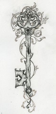 heart and key locket tattoos - Google Search