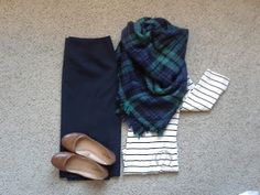 Weekly Wardrobe Rewind: Stripes with navy/green plaid blanket scarf and navy skirt... love!