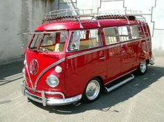 Shiney and Red VW Bus with rack